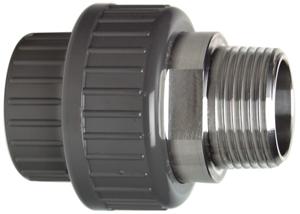 System klejony PVC-U - Dwuzłączka PVCU-STAL z gwintem R - Georg Fischer